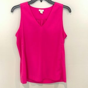 J. Crew Fuchsia Pink Sleeveless V-Neck Top